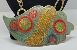 Vtg Brass Etched Enamel Handmade Pendant Necklace Leaf Flower India Boho... - $27.08