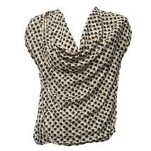 Ann Taylor Womens White Beige Black Print Cowl Neck Short Sleeve Top Sz 4 - $9.90