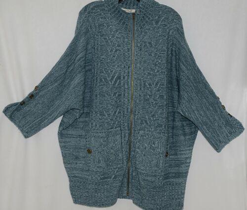 Simply Noelle Brand JCKT222Z Womens Misty Blue Zippered Sweater Jacket Size XXL