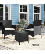 hpjsyd 3 Pieces Outdoor Patio Rattan Conversation Furniture Set - $169.99