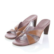Cole Haan Brown Leather Heeled Sandals Slides Womens 7 B Style D14077 - $34.48