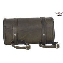 """Distressed Motorcycle Tool Bag Dark Brown Leather 10"""" Universal Front Back Fork image 4"""