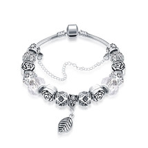 18K White Gold Plated Crystal Charm Bracelet Made with Swarovski Elements - $12.73