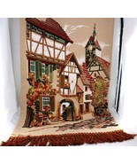 Vtg Tapestry Art Wall Hanging 3D French Country Victorian Village Scene ... - $175.00