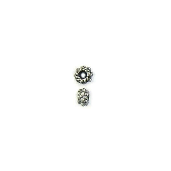 2pcs. Beaded Spacer Fine Pewter Cast Bead - 3mm W X 5mm H X 5mm D; Hole 5mm