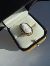 Antique Victorian 10k Yellow Gold Angel Skin Coral Cameo Filigree Ring S... - $249.99