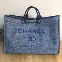 CHANEL Deauville Chain Shoulder Tote Tote Bag Indigo Blue Canvas Auth Mi... - $3,109.50