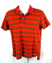 American Eagle Outfitters Red and gray  Striped  Polo Shirt  Size Large - $132,95 MXN