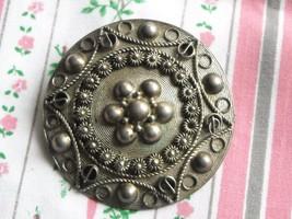 Antique Silver Filigree Victorian Brooch - $12.95