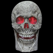 Scary GIANT LIGHTED SKULL w-SPOOKY SOUND Halloween Haunted House Prop De... - £45.11 GBP