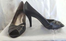 Leather SARTO Size Peep Black Heels Toe Pumps 8 Shoes FRANCO UZW1xnwZ