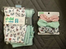 Child of Mine baby girl 3-6 mon Matching Pants & Headwrap, Unicorn Flower Green - $5.45