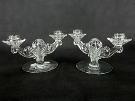 Pair of Vintage 2-Candle Holders, Fostoria Glass, Coronet Pattern, Elega... - $24.45
