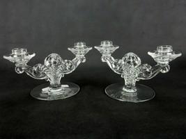 Pair of Vintage 2-Candle Holders, Fostoria Glass, Coronet Pattern, Elega... - $24.45
