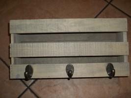 wooden letter holder and coat  3  metal hangers wooden base - $14.00