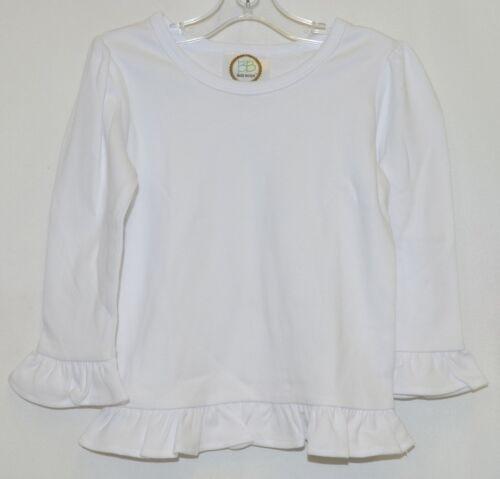 Blanks Boutique White Long Sleeve Cotton Ruffle Shirt Size 18M