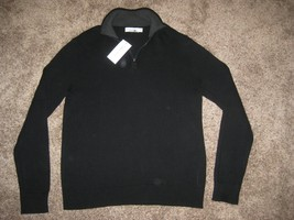 CALVIN KLEIN RIBBED SWEATER MEDIUM M MD BLACK TOP 40R3064 1/4 ZIP CK $79... - $32.68