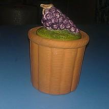 Terra Cotta Clay w/ Ceramic Grape Cluster Lid Condiment Jam Bowl Jar - $2.96