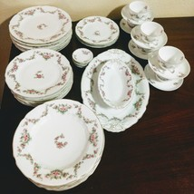 Vintage Rare Germany Hermann Ohme Fine China Carmen Silesia Rose Ribbon ... - $445.50