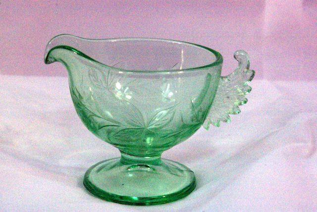 Westmoreland 1930's Art Deco Wings Green Footed Creamer - $41.57