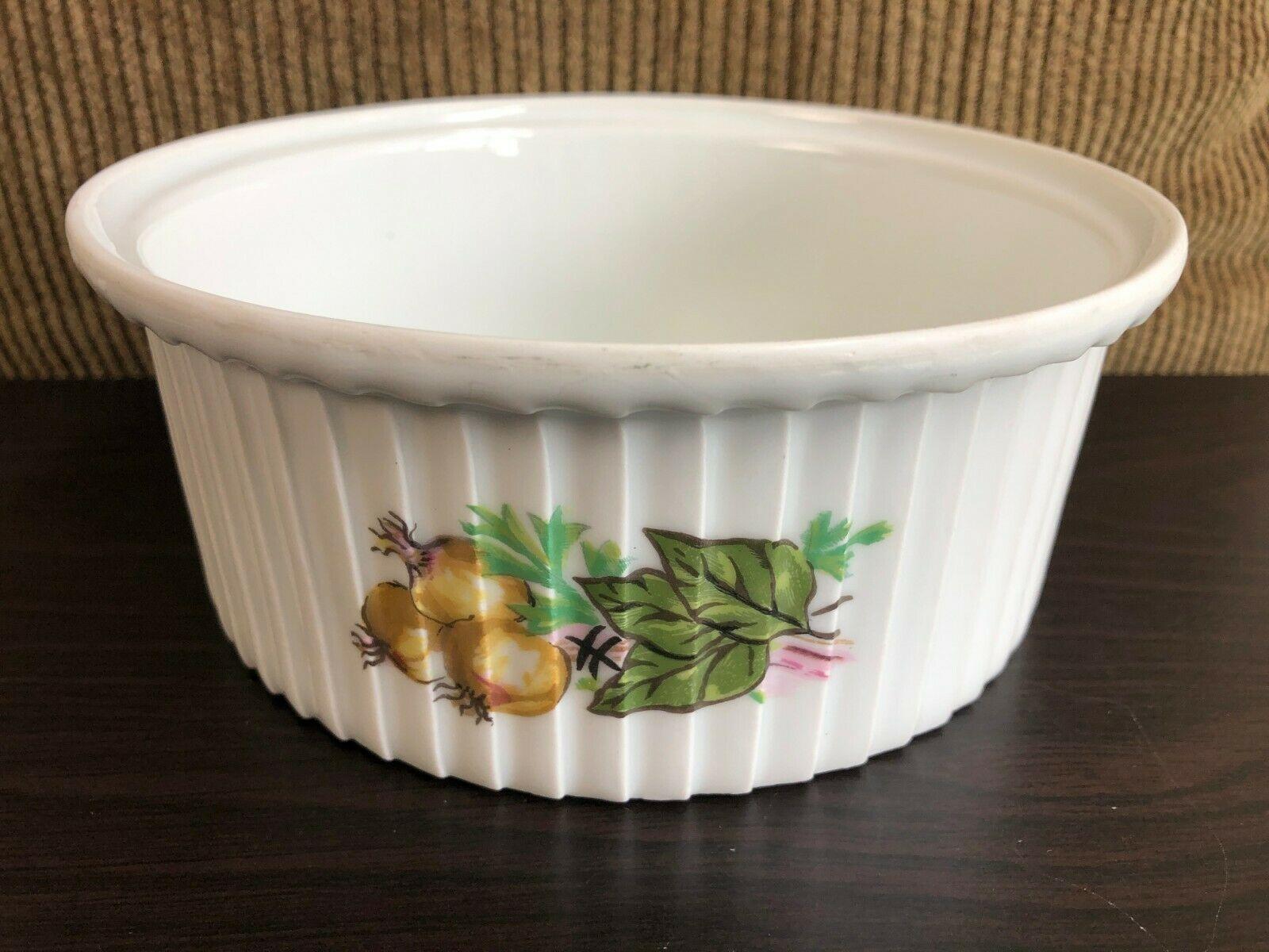 Haviland Aluminite Limoges France White Soufflé Casserole Bowl Vegetable Plants - $24.31