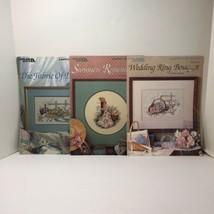 3 Paula Laughan Cross Stitch Pattern Leaflets Leisure Arts Wedding Ring ... - $14.50