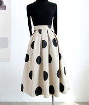 Fall Polka Dot Pleated Skirt Women Polka Dot Party Skirt Outfit,Khaki,Pl... - $65.99