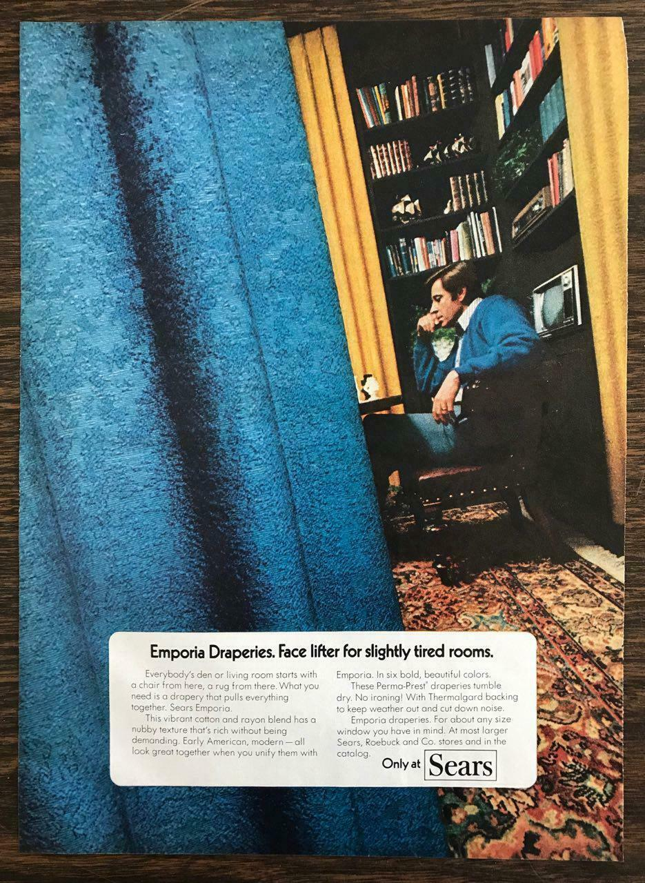 Primary image for 1972 Sears Print Ad Emporia Draperies Face Lifter for Slightly Tired Rooms