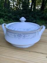 Vintage Sheffield Fine Porcelain China BLUE WHISPER Round Covered Vegetable Bowl - $51.43