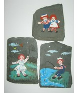 Vintage Raggedy Ann & Andy Wall Hangers Hand Painted on Slate Lot 3 1998 - $23.36