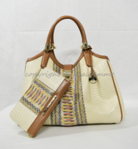 SET of Brahmin Elisa Satchel/Shoulder Bag + Suri Wallet in Yellow Canyon... - $499.00