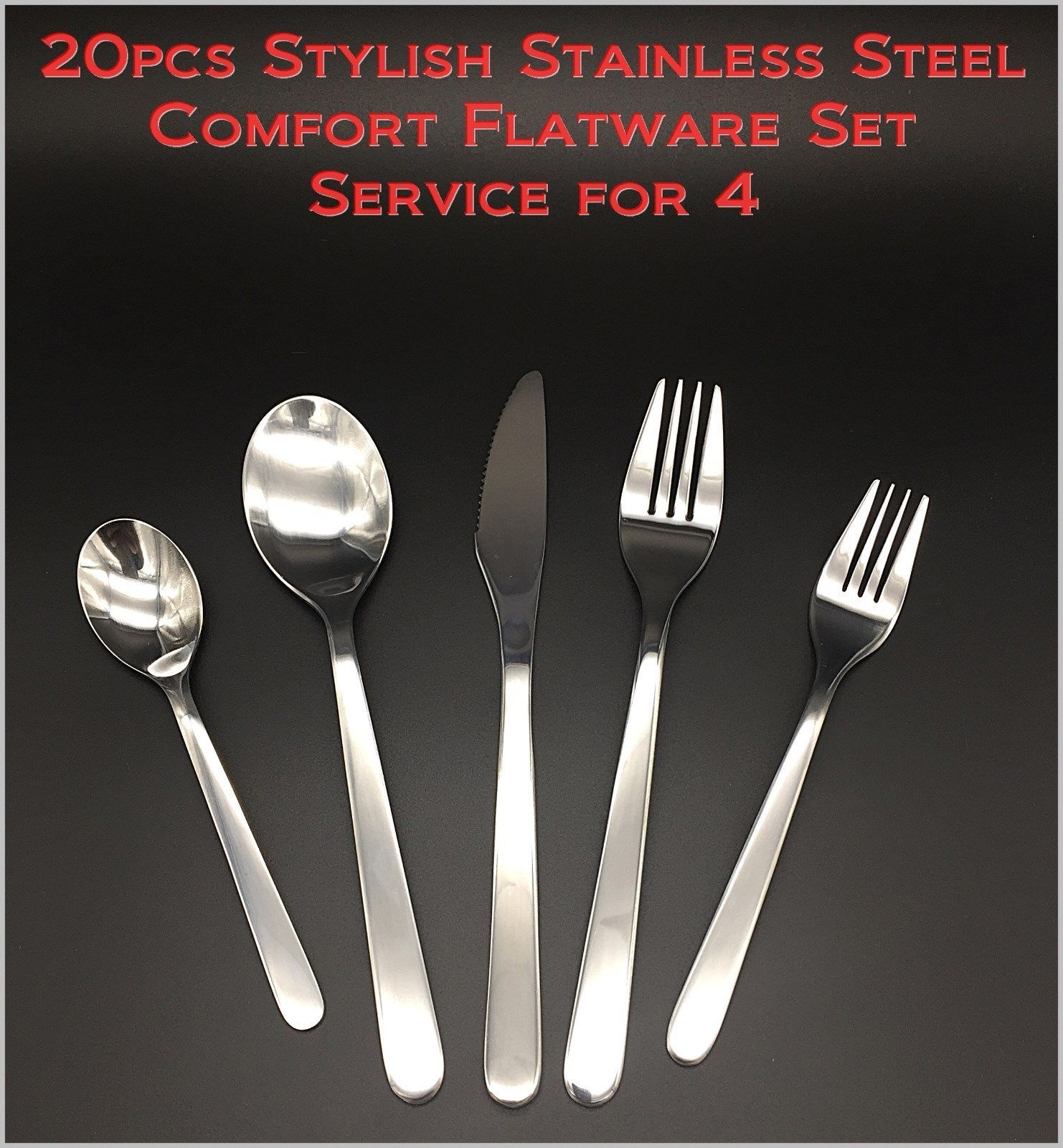 20pcs New Modern, Stylish & Classic Stainless Steel Comfort Flatware Set for 4 - $29.79