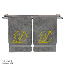 Monogrammed Washcloth Towel,13x13 Inches - Set of 2 - Gold Script - D - $27.99