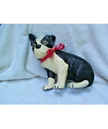 CAST IRON DOOR STOP OF ADORABLE BOSTON TERRIER WEARING RED SATIN RIBBON BOW - $35.00