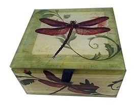 Value Arts Red Dragonfly Glass Keepsake Box, Beveled Edges, Velvet Lined... - $39.89