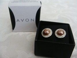 Avon Autumn Romance Chocolate Pearly Pierced Earrings - $4.99