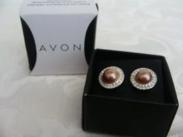 Avon Autumn Romance Chocolate Pearly Pierced Earrings - $4.99