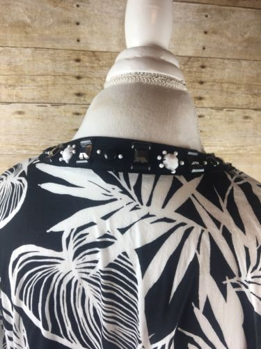 JM Collection Beaded Leaves Blouse Top Black White Size 16 Cotton 3/4 Sleeve