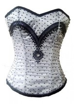 White Satin Black Sequins Burlesque Bustier Waist Training Overbust Cors... - $79.19+