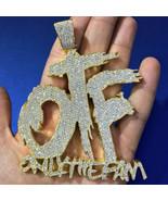 1.99 ct Round Sim Diamond Men's Custom OTF Name Pendant 14k Yellow Gold ... - $509.99