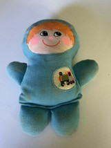 "1978 Vintage Playskool Baby Boy blue cloth rattle 6.5"" tall painted face... - $11.88"