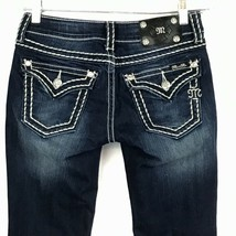 23fd7877 Miss Me Jeans 27 Tall Dark Distressed Bootcut Bling Thick Stitch Low Ris.