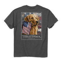 Tide & Timber Red White & Golden Retriever Dogs American USA Flag Tee Shirt 3189 - $23.99