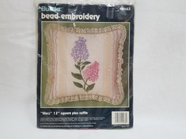 Lilacs 12 Inch Square Pillow Bead Embroidery Kit 49463 Bucilla Discontinued - $19.99