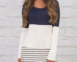 Ies loose casual long sleeve shirt cotton blouse tops striped hit color long shirt thumb155 crop