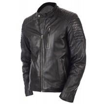 Vintage Biker Jacket Genuine Leather Jacket For Men In Black Color - $69.29+