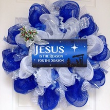 Jesus Is The Reason For The Season Christmas Inspirational Deco Mesh Wre... - $92.99