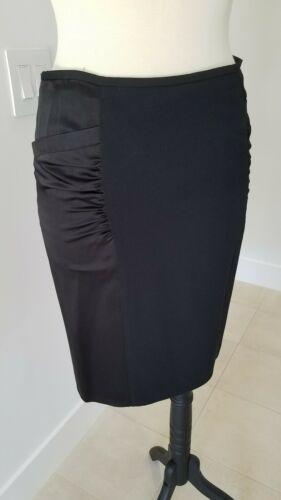ARMANI COLLEZIONI Black Viscose Like Satin Panels Dress Skirt  Size 8 image 2