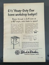 Vintage 1956 Black & Decker Portable Electric Tools Heavy Duty Saw Full Page Ad - $6.64