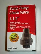 "1-1/2"" ABS Sump Pump Check Valve Pro Plumber - $8.56"